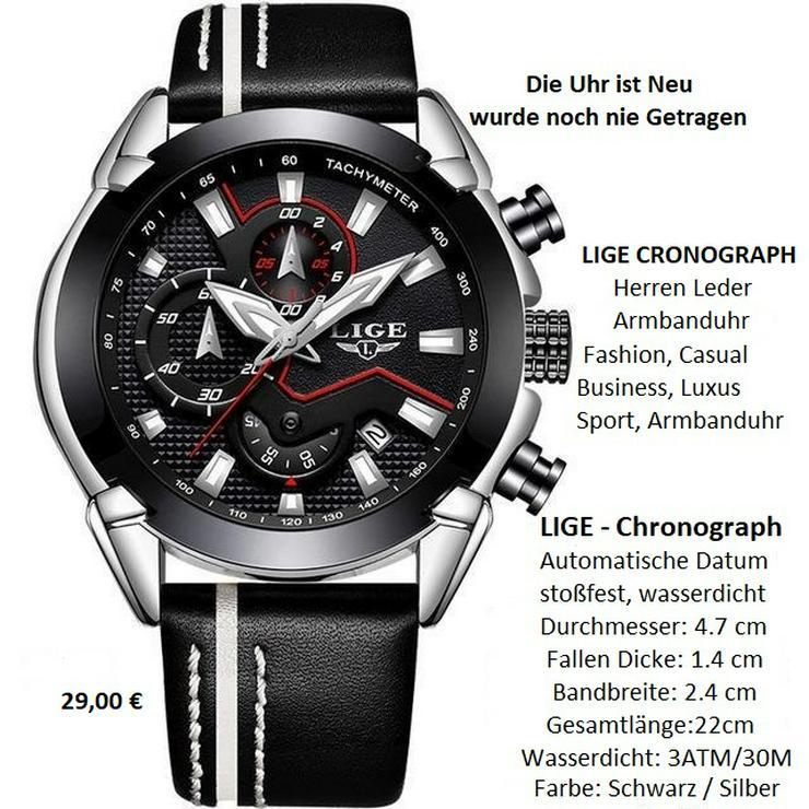 LIGE Sport Chronograph Herren Leder Armbanduhr
