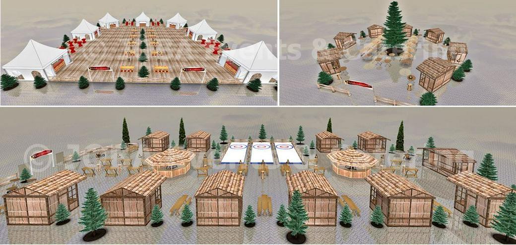 Mobiler Firmen Weihnachtsmarkt mieten - Weihnachtsfeier Ideen - Weihnachtshütten - Catering - Eventausstattung - Riesen Nussknacker - Riesen Räuchermann