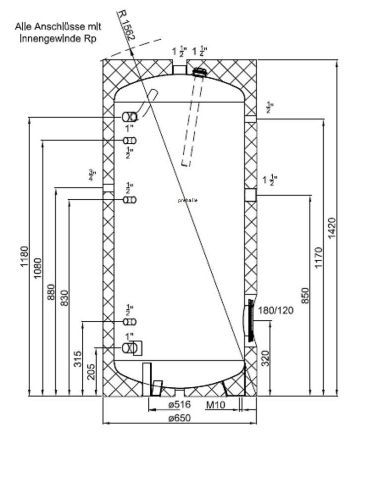 Speicher 300L Warmwasser für Heizung oder Pelletofen oder Solar