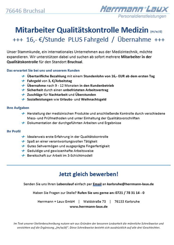 Mitarbeiter Qualitätskontrolle Medizin (m/w/d) +++  16,- €/Stunde  PLUS Fahrgeld  /  Übernahme  +++