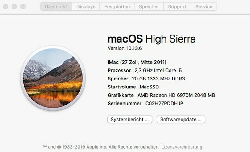 """Bild 4: iMac 27"""", Mitte 2011, 1 TB SSD, 20 GB RAM, 2,7 GHz Intel Core i5"""