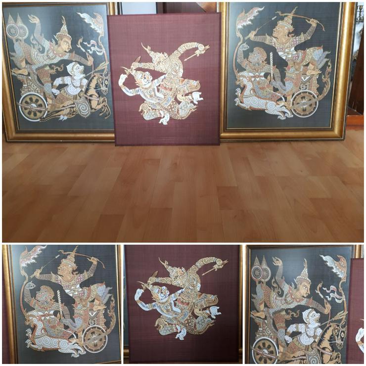 """WAYANG Batik Trilogie """"Krieger auf Streitwagen"""" - Stickbilder & Gobelins - Bild 1"""
