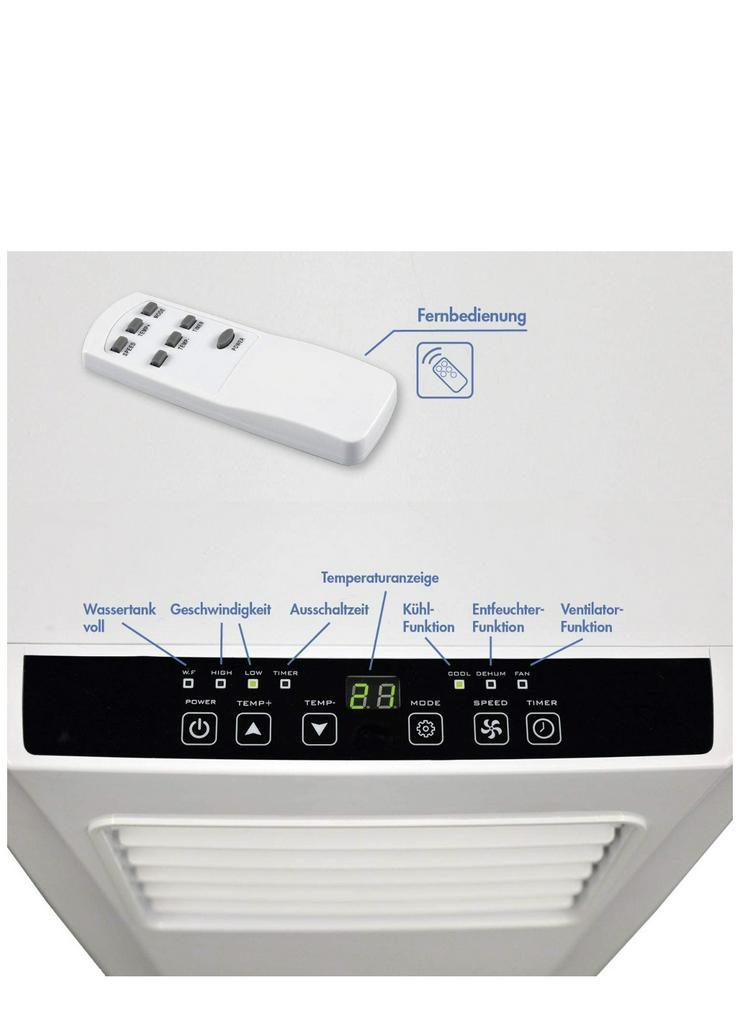 Bild 6: Klimaanlage mit Fernbedienung + Abluft-Schlauch für eine Fläche von max. 100m2