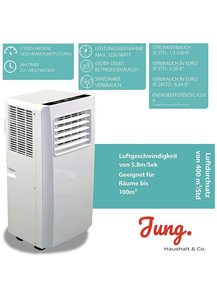 Bild 4: Klimaanlage mit Fernbedienung + Abluft-Schlauch für eine Fläche von max. 100m2