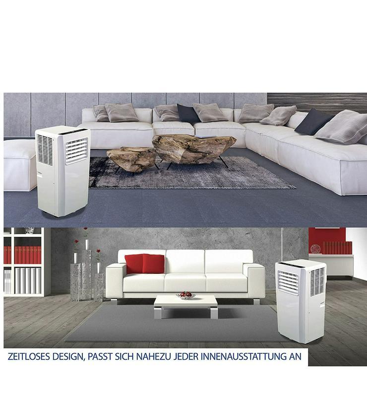 Bild 5: Klimaanlage mit Fernbedienung + Abluft-Schlauch für eine Fläche von max. 100m2
