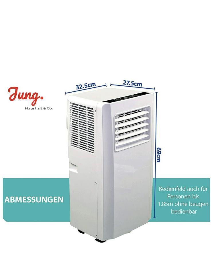 Bild 3: Klimaanlage mit Fernbedienung + Abluft-Schlauch für eine Fläche von max. 100m2