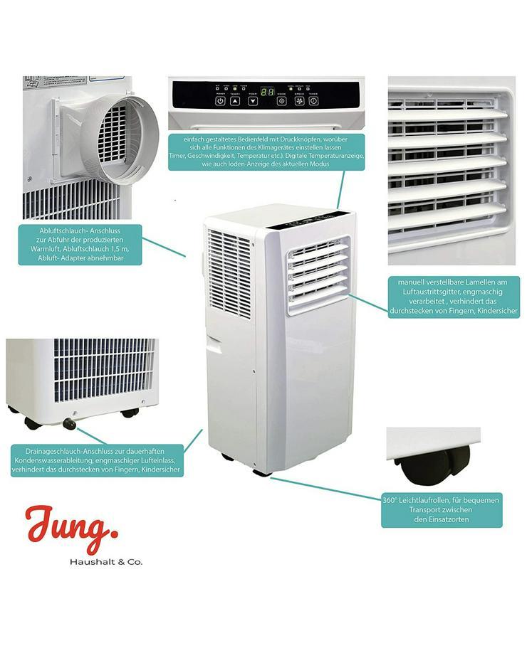 Bild 2: Klimaanlage mit Fernbedienung + Abluft-Schlauch für eine Fläche von max. 100m2