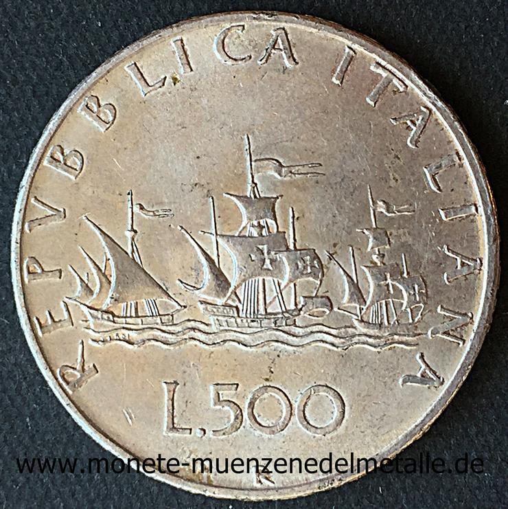 500 Lire Karavellen  Italien Silber Münze