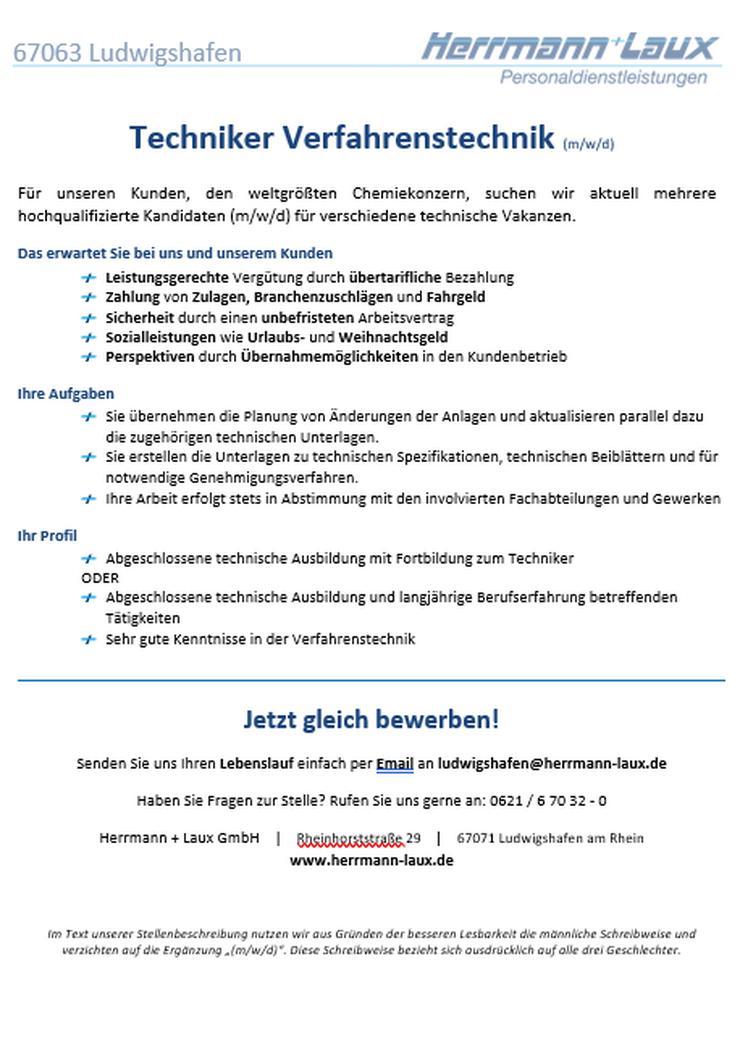 Techniker Verfahrenstechnik (m/w/d)