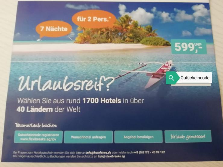 Hotelgutschein für 2 Personen - Urlaub, Flug & Reise - Bild 1