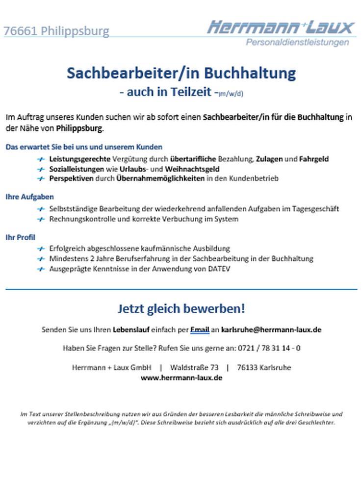 Sachbearbeiter/in Buchhaltung - auch in Teilzeit -(m/w/d)