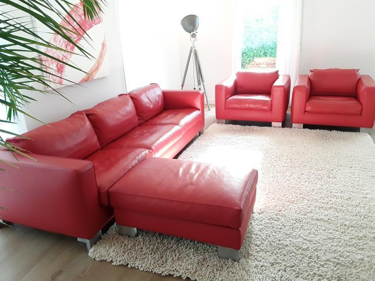 Molinari Classico Sofa Couch Garnitur (3+1+1+Hocker) Büffelleder