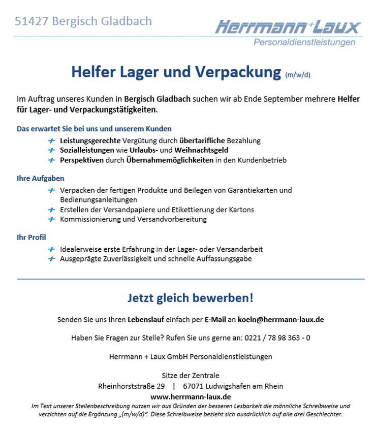Helfer Lager und Verpackung (m/w/d)