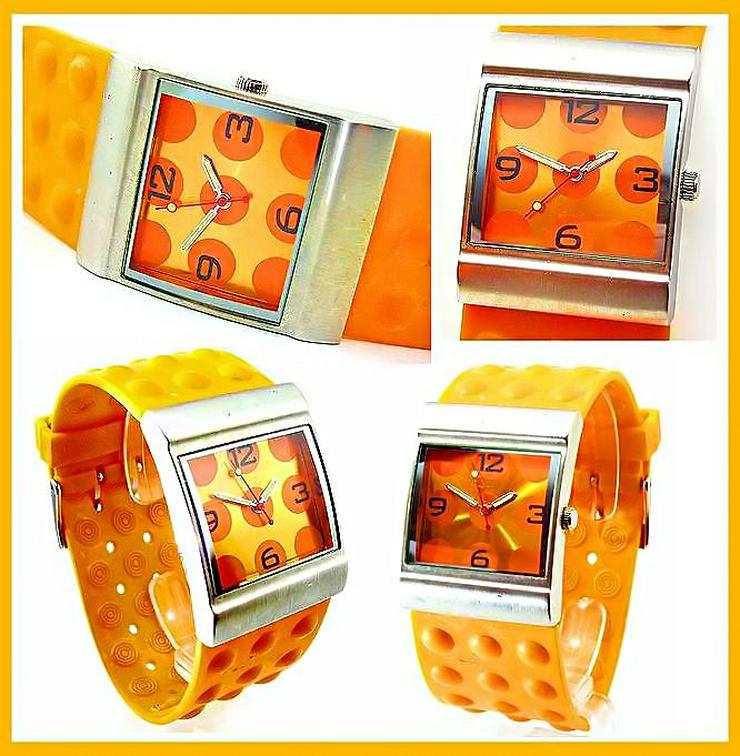 Damen Uhr - schöne moderne orange Farbene Damenarmband Uhr