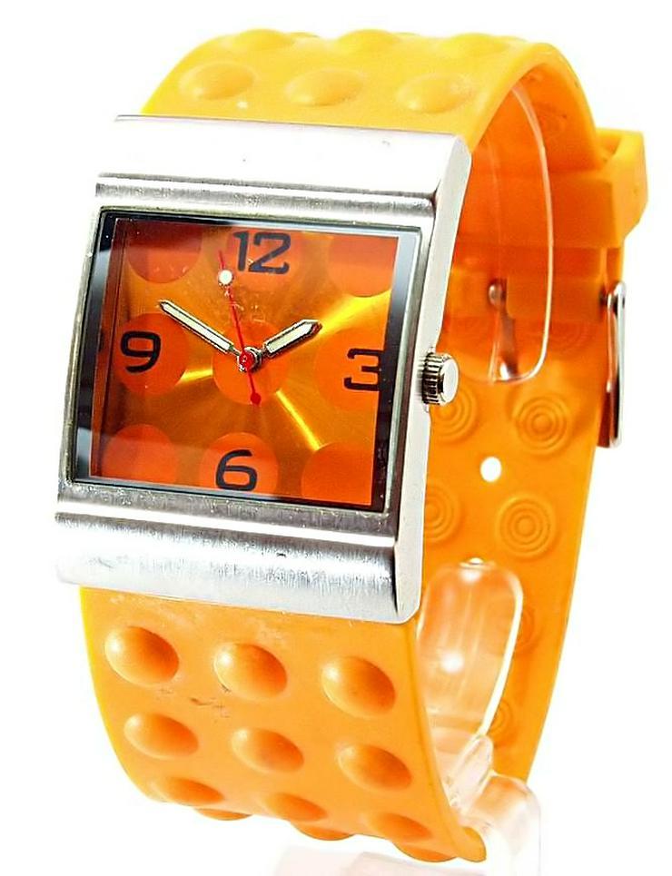 Bild 3: Damen Uhr - schöne moderne orange Farbene Damenarmband Uhr