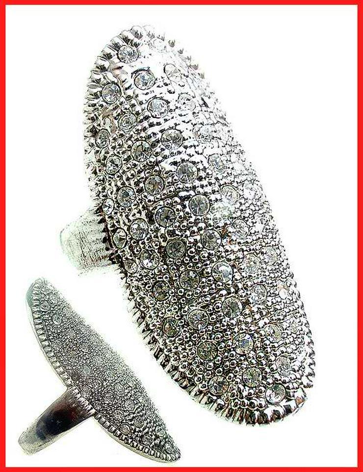 großer RING Ø 20mm Silberfarben GLITZERSTEINCHEN auffallend