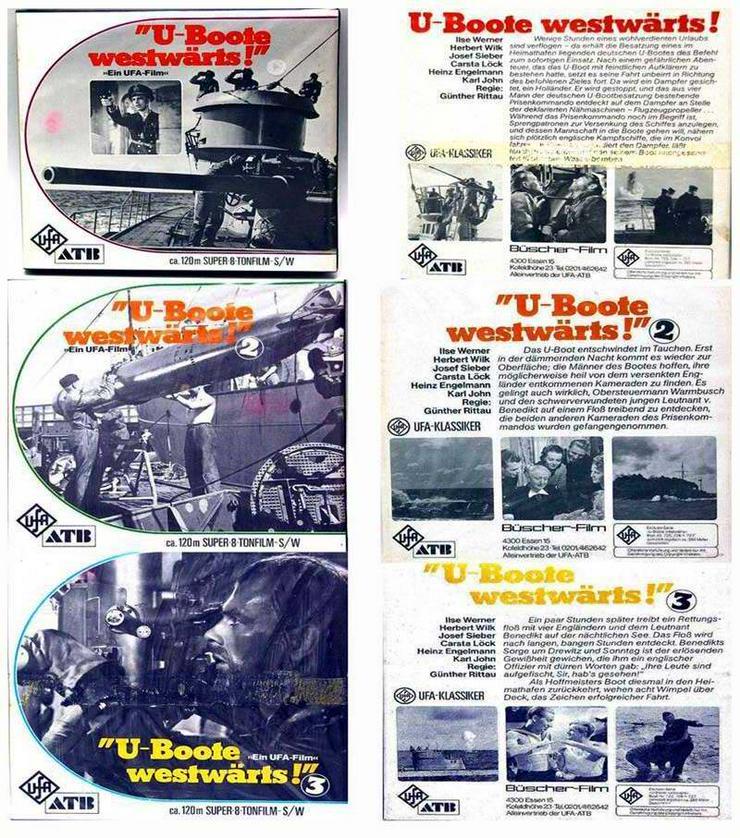 3x UFA Super 8 TONFILM - U-Boote westwärts -Teil 1+2+3 Kriegfilm