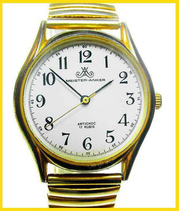 HAU MEISTER ANKER - 17 Rubis - Handaufzug - vergoldet - ANTICHOC - Herren Armbanduhren - Bild 1