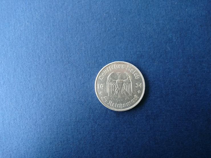 Bild 4: 5 Reichsmark - Silbermünze aus dem Jahr 1934. incl. Versand