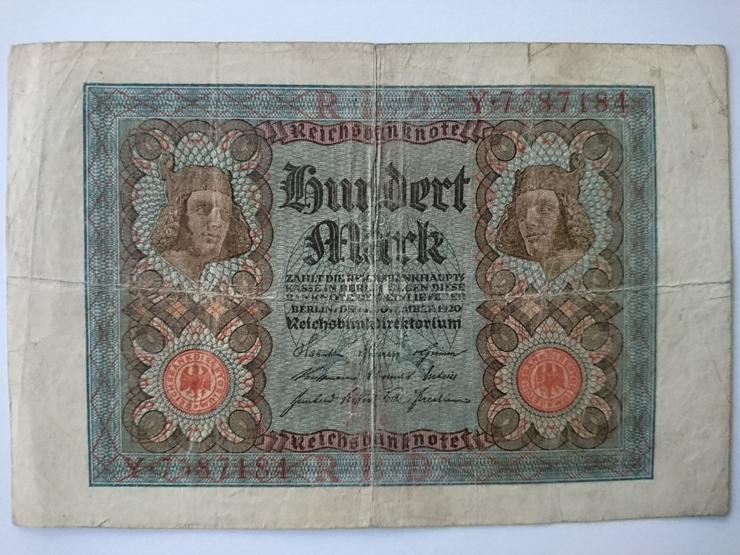 Verkaufe eine 100-Mark-Banknote von 1920. incl.Versand