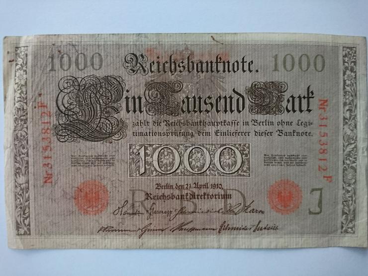 Verkaufe 1000 Mark - Banknote von 1910. incl.Versand