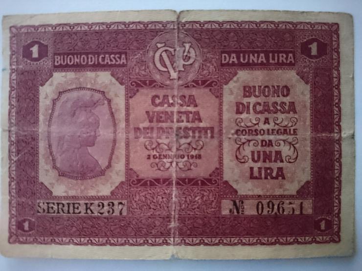 Verkaufe 1 Lira Banknote von 1918.  incl. Versand