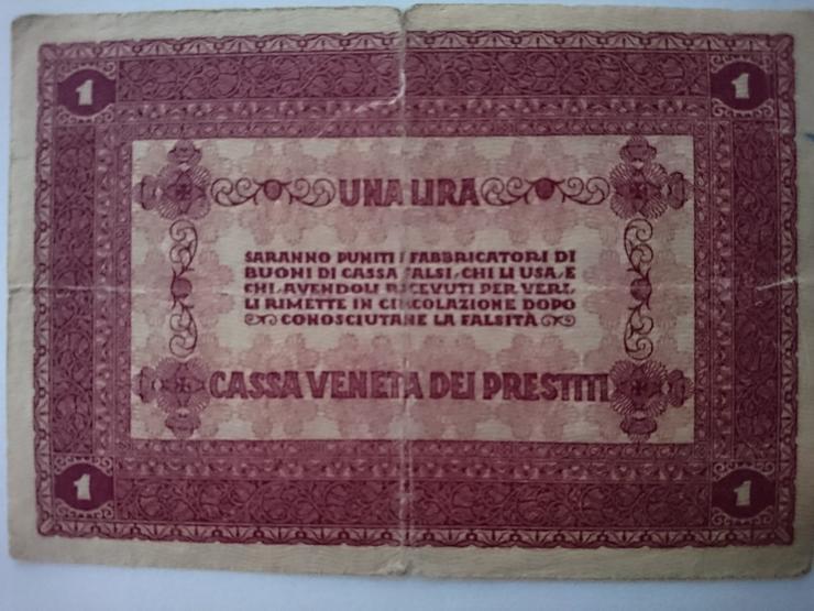 Bild 2: Verkaufe 1 Lira - Banknote von 1918.  incl. Versand