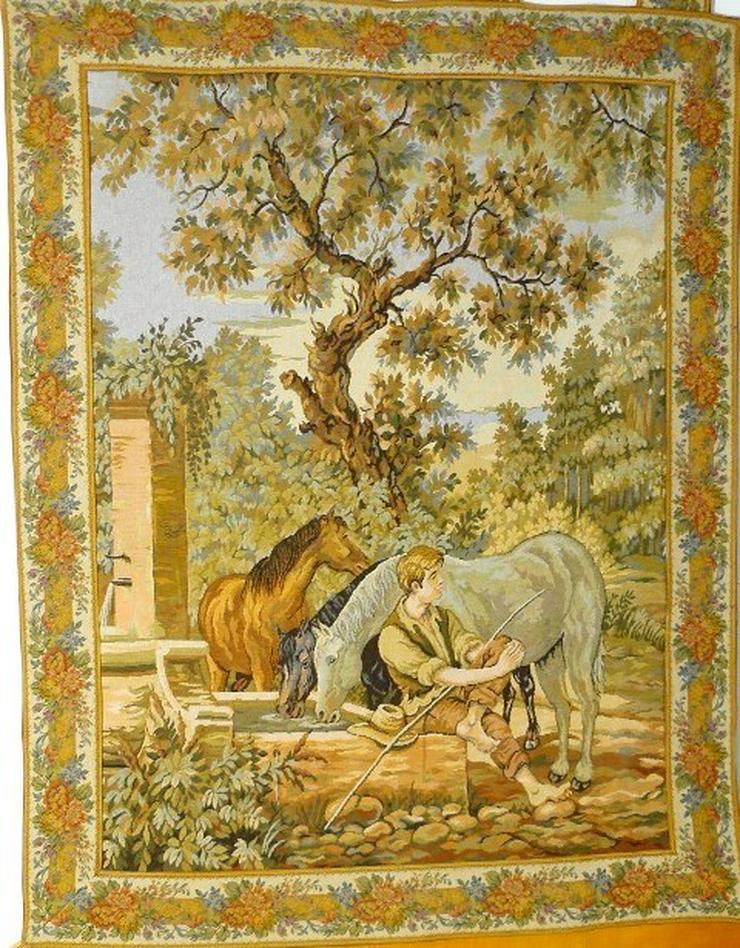 Gobelin Bildteppich Pferde an der Tränke (G019)