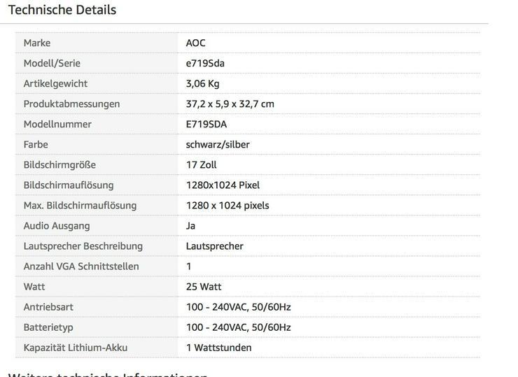 AOC  17 Zoll Monitor