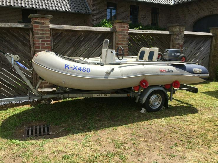 Schlauchboot mit Motor und Anhänger 4,10m x 2,00m