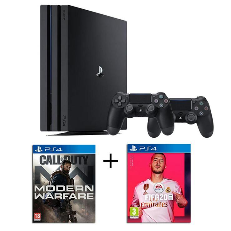 PS4 Pro 1 TB Schwarz + 2 Controller + 2 Spiele: CALL OF DUTY Modern Warfare + FIFA 20