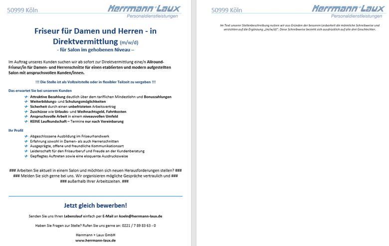 Friseur für Damen und Herren - in Direktvermittlung (m/w/d)