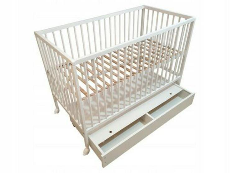 Gitterbett Babybett Kinderbett mit Schublade HAPPY 60x120 weiß Bettkasten