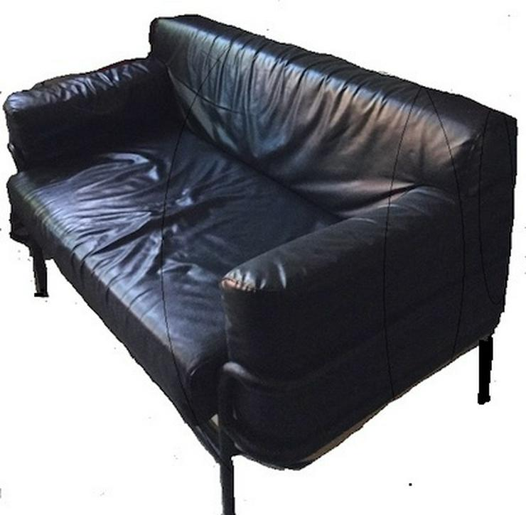 Schwarzen Kunstleder Sofa - Couch - Bild 1
