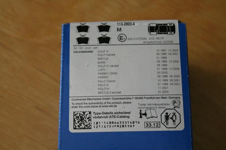 ATE Scheibenbremsbeläge / EU 1017 hinten       13.0460-2820.2 - Bremsen, Radantrieb & Zubehör - Bild 1
