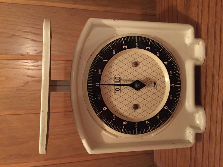 Alte EFFEM Küchenwaage - Emaille weiss - 10 Kilo