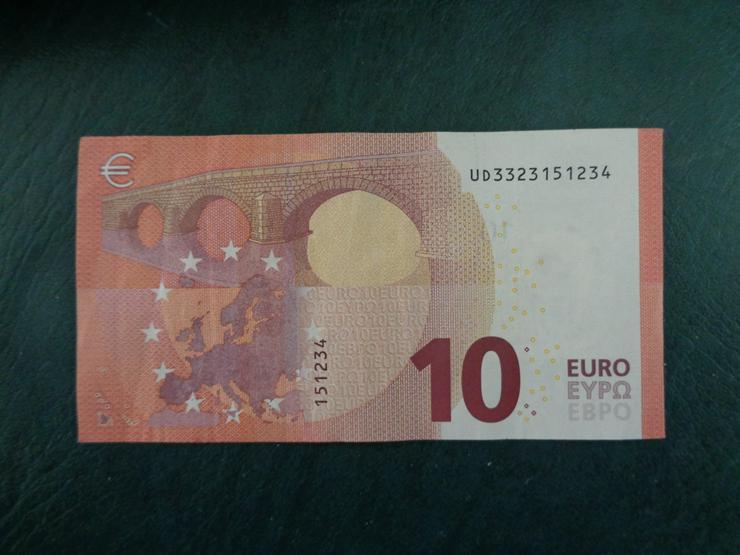 10 Euro (€) Geldschein Banknote mit schöner Serien-Nr.-Endung: . . . 1 2 3 4