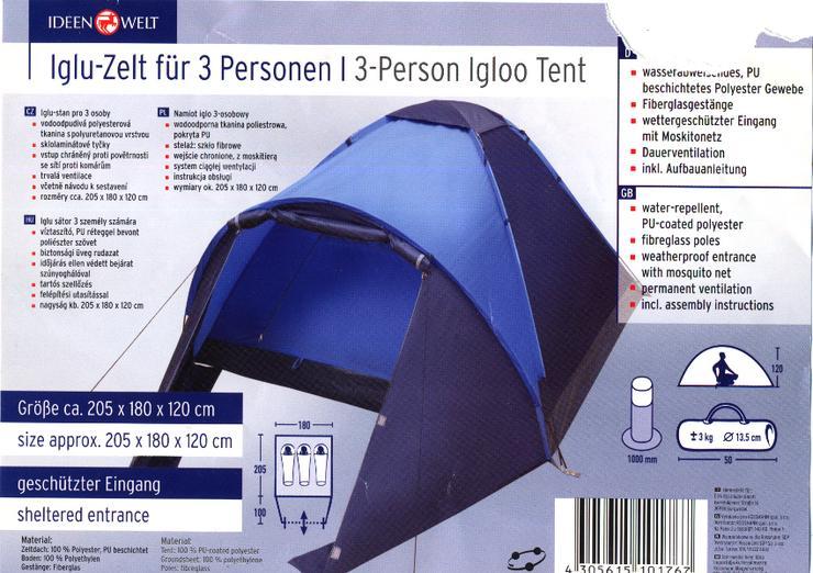 Iglu-Zelt für 3 Menschen
