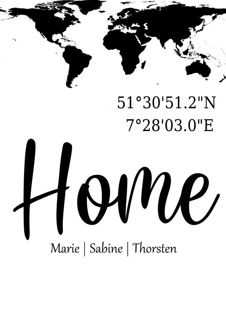Poster HOME/Koordinaten/WELT personalisierter Kunstdruck -Namen