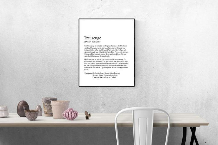 Bild 2: Poster TRAUZEUGIN/TRAUZEUGE  - personalisiert -