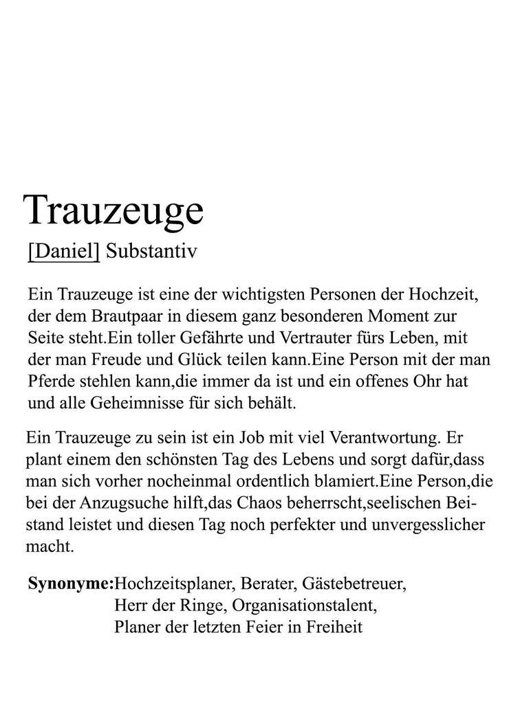 Poster TRAUZEUGIN/TRAUZEUGE  - personalisiert -