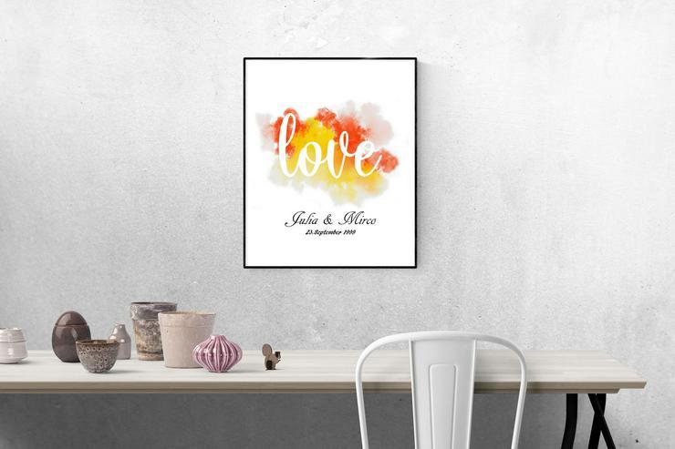 Poster LIEBE personalisierter Kunstdruck -Namen & Datum personali - Print & Werbung - Bild 1
