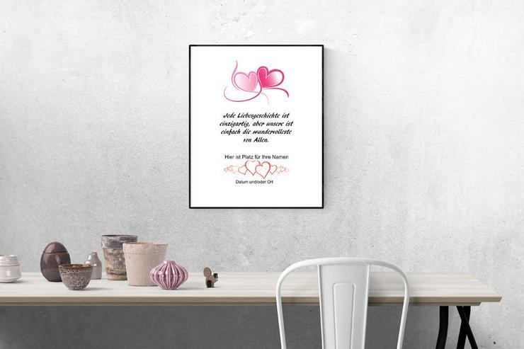 Poster Personalisiert Liebe - Herz  -Namen + Datum personalisiert