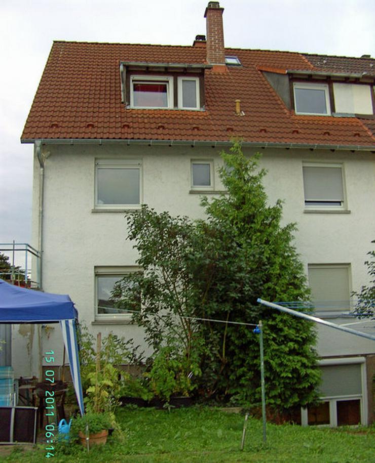 Bild 2: Doppelhaus-Hälfte, Weinheim-Weststadt, Grund ~377 qm, 3 Etagen, 3 abgeschlossene Wohneinheiten, ~75+75+55 qm, jeweils 3-ZKB, Spitzboden+Keller ausbaufähig, Balkon, Garage, Stellplatz, Garten