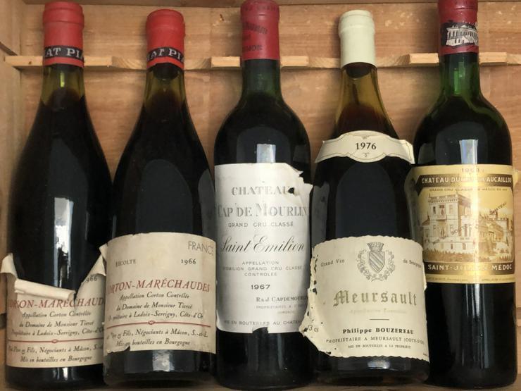 5 Flaschen alte Bourgogne- und Bordeaux-Weine - Sammlerstücke zu verschenken  - - Sonstiger Rotwein - Bild 1