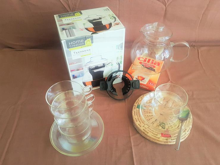 Glaskannen - Teegläser - Halter - Filter + Untersetzer