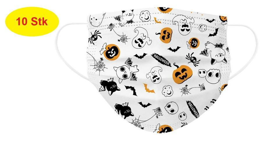 Kinder Munschutz Maske 3-lagig Helloween inkl.Kostenloser Versand