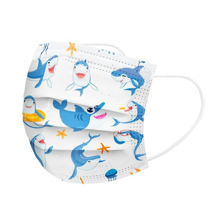 Kinder Munschutz Maske 3-lagig Haie inkl. Kostenloser Versand