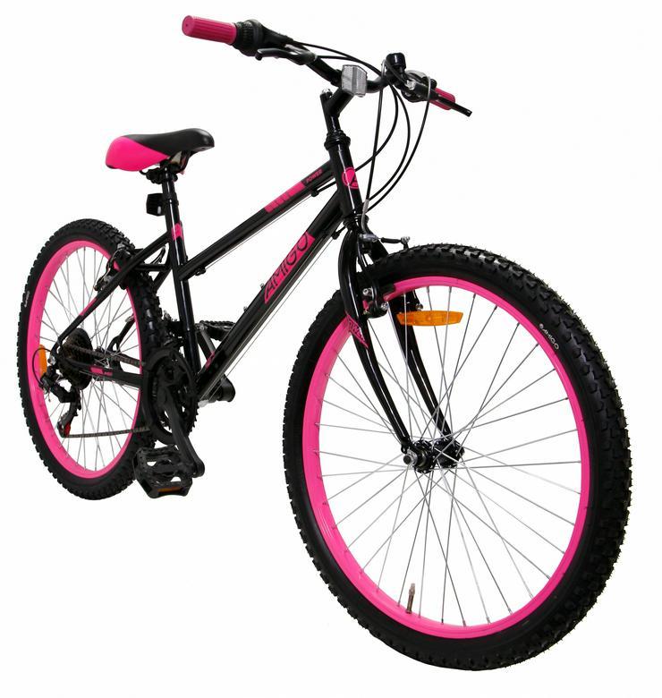 AMIGO Power 24 Zoll 38 cm Mädchen 18G Felgenbremse Schwarz/Rosa - Mountainbikes & Trekkingräder - Bild 1
