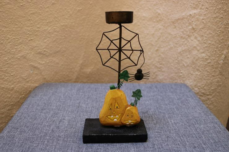 Halloween-Teelichthalter, Metall-Holz - Weitere - Bild 1
